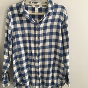 Blue and White Plaid Flannel